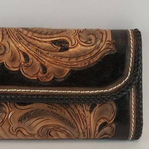 Hand Tooled Braided Trim Wallet Clutch